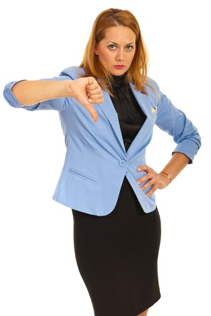 thumb down: Upset business woman with thumb down isolated on white background
