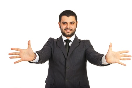 Happy business man with his hands stretched isolated on white background