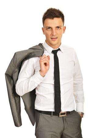 elegant business man: Uomo d'affari elegante con giacca sulla spalla isolato su sfondo bianco