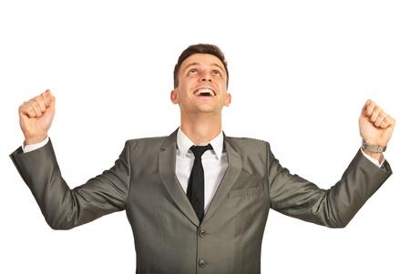 Uomo d'affari di successo applausi isolato su sfondo bianco Archivio Fotografico