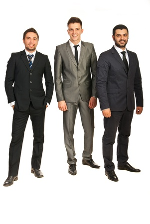 Full length of happy business men team isolated on white background Stock Photo - 18205735