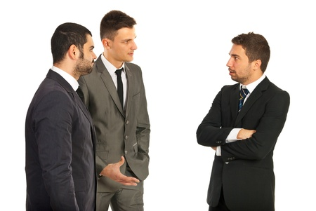 Meeting of three business men having conversation isolated on white background Stock Photo - 18205757