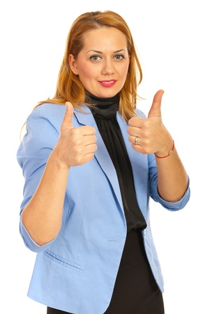 Happy business woman giving thumbs up isolated on white background photo