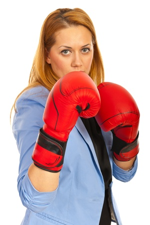Business woman with boxing gloves isolated on white background photo