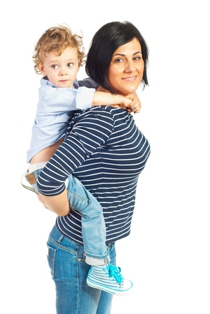 piggy back: Happy mother playing with her little son isolated on white background