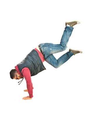 Break dancer man in action isolated on white background photo