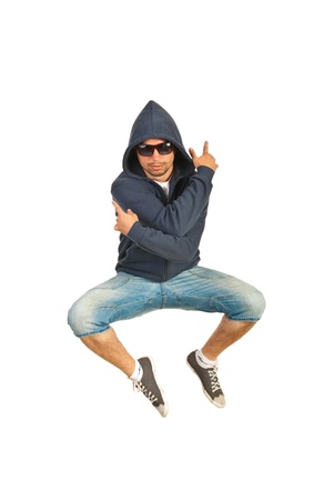 Rapper man jumping isolated on white background photo