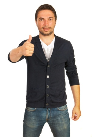 Casual man giving thumb up isolated on white background photo