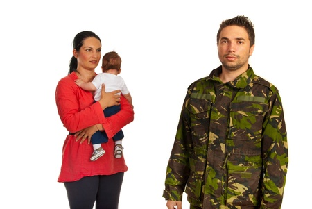 Mother with baby come to military father in front of image isolated on white background photo