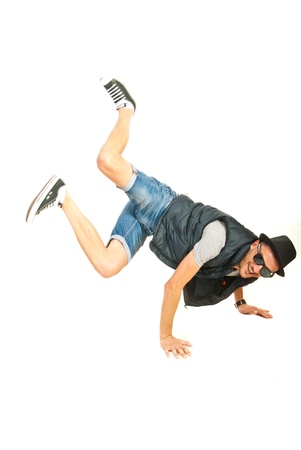 Cool freestyle dancer isolated on white background photo