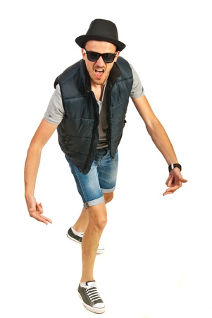 hip hop man: Hip hop man with hat gesturing and screaming isolated on white background