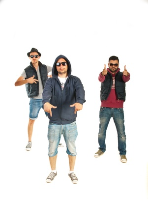 Three rappers men gesturing isolated on white background photo