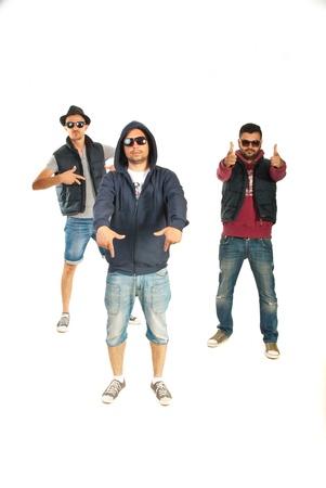 raperos: Tres hombres raperos gestos aislados sobre fondo blanco