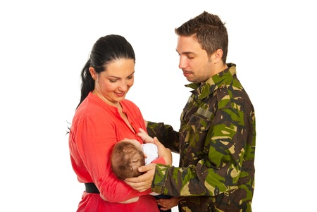 Military father came home to his wife and newborn baby isolated on white background photo
