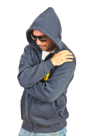 street shot: Hooded rapper man isolated on white background