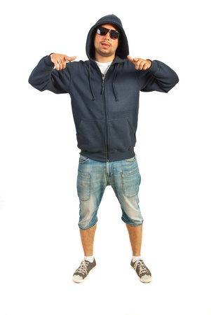 gesticulate: Funky rapper man gesticulate isolated on white background