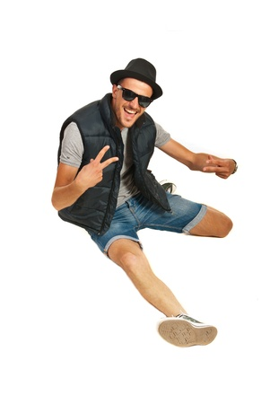 Happy rapper man gesticulate isolated on white background photo
