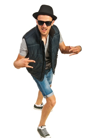 hip hop man: Hip hop man with cap gesturing isolated on white background