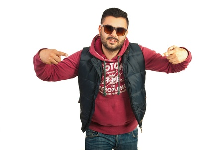 Rapper man with attitude isolated on white background photo