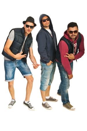 raperos: Tres bailarines banda gestos aislados sobre fondo blanco