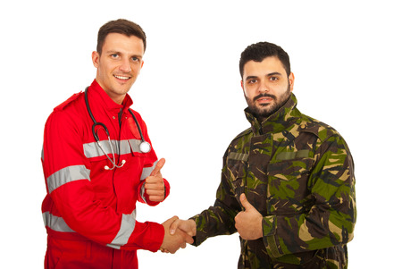 thumbsup: Paramedic and soldier handshake and giving thumb up isolated on white