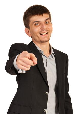Hombre ejecutivo elegido usted aislados sobre fondo blanco Foto de archivo