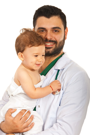 Doctor man holding baby boy isolated on white background photo