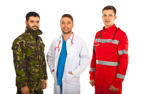 Soldier,doctor and paramedic men in a row isolated on white background photo
