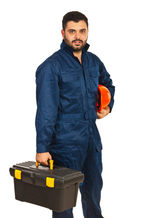 Constructor worker holding box utensils isolated on white background photo