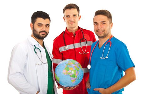 Different doctors males holding world globe isolated on white background photo