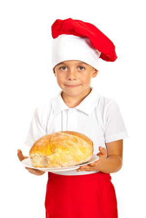 Chef boy giving bread isolated on white background photo