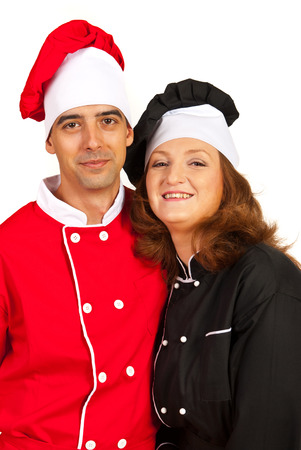 Embraced couple of chefs woman and man isolated on white background photo