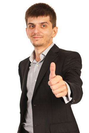Business man giving thumb up isolated on white background photo