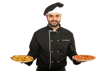 Happy chef man serving pizza isolated on white background photo