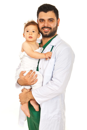 Happy doctor man holding baby boy isolated on white background photo