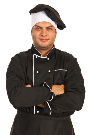 Happy chef man with arms folded isolated  on white background photo