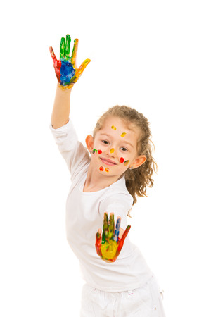 solated: Cute little girl showing hands in paints solated on white background