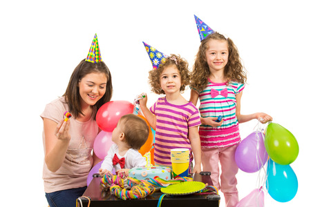 Happy birthday party of boy celebrate with cake together with his family photo