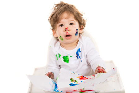 Amazed toddler boy photo