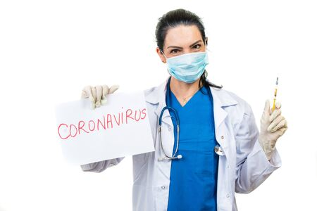 Doctor woman holding vaccine for disease Coronavirus isolated on white background