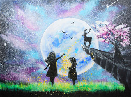 Acrylic painting  of two little girls in the moon light