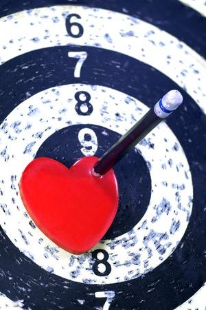bull rings: Heart Target for Lover Concept Stock Photo