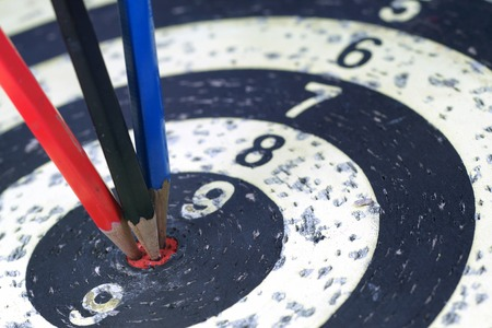 bull rings: Pencil Target for business or meeting concept