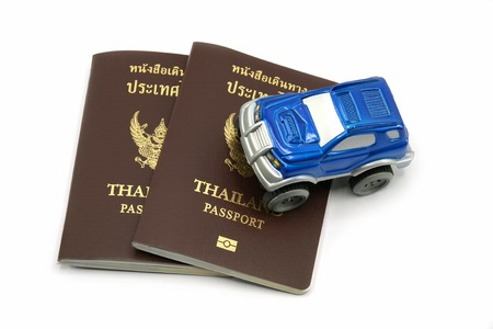 4wd: Thailand Passport and 4wd Car for Travel Concept. Stock Photo