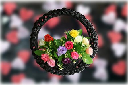 hearts background: Rose basket on hearts background