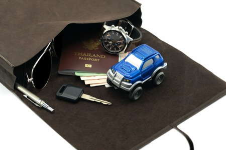 Travel set for auto adventure concept photo
