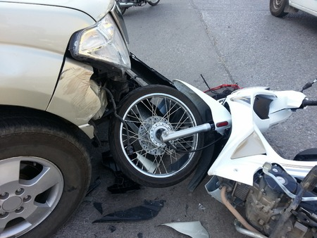 accident patient: Accident between pickup truck and motorcycle