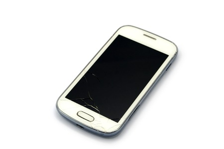 portable failure: Broken smart phone isolated on white background Stock Photo