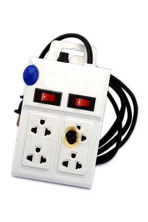 meltdown: Meltdown and burn power bar plug for safety concept. Stock Photo