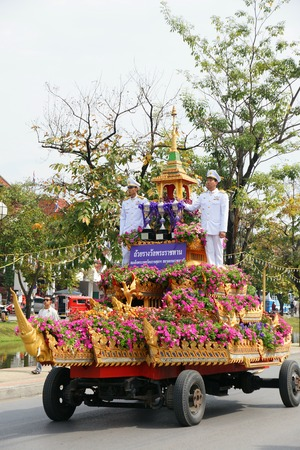 flower parade: CHIANGMAI THAILAND  FEBRUARY 2 2013 : Unidentified Thai people on the parade in ChiangMai Flower Festival 2013 in ChiangMai Thailand.